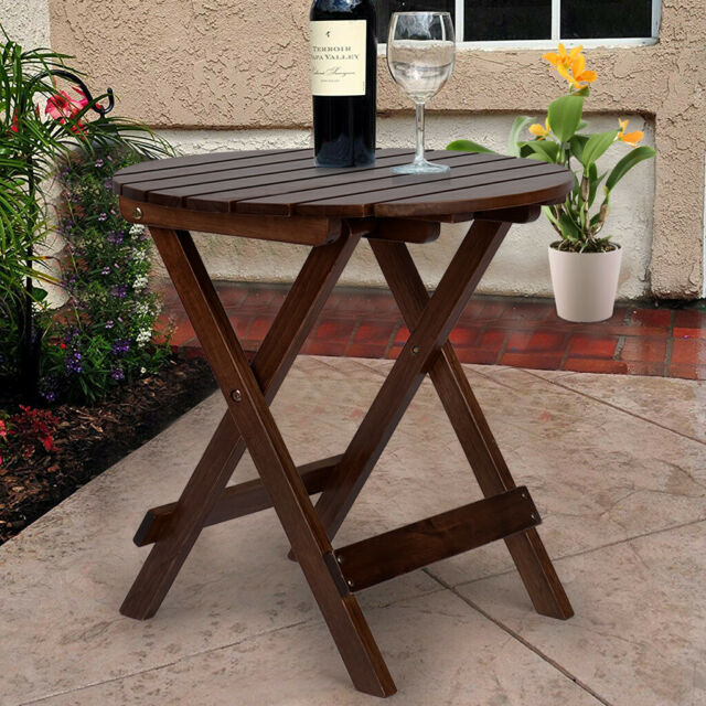 Folding Outdoor Coffee Side Table Small Round Wood Patio Furniture Brown White For Sale Online