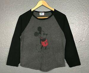 Disneyland-Resort-Mujer-Mickey-Mouse-Negro-y-Gris-3-4-manga-Camiseta-Camiseta-grande