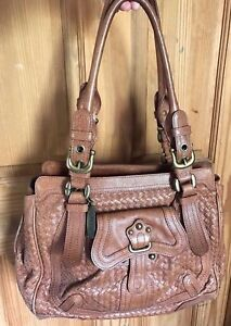 Image is loading BRIGHTON-MASTERPIECE-LOCKHEART -LARGE-Tan-WOVEN-Vintage-Leather- 85c3892ccbfb0