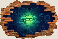 3D Hole in Wall Computer Geek View Wall Stickers Film Decal Wallpaper Mural 765