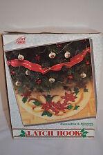 Poinsettia Ribbons Christmas Tree Skirt Caron Wonder Art Latch Hook Kit New
