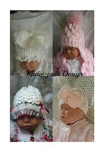 Knitting Pattern #69-4 Hat Designs for Baby 0-3m