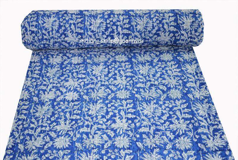 Kantha Quilt Indian Handmade Bedspread Cotton Blanket Coverlet Bedding Ethnic