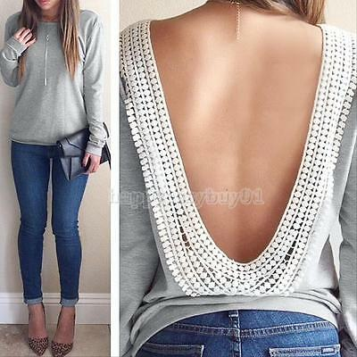 Fashion Backless Summer Sexy Women Casual Long Sleeve Lace Blouse T Shirt Tops
