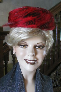 Image is loading EVELYN-VARON-Unique-Vintage-Red-Feathers-Pillbox-Hat- b976845386c