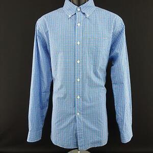 Mens-Polo-Ralph-Lauren-140-039-s-2-Ply-Sky-Blue-Oxford-Golf-Dress-Shirt-Size-Large-L