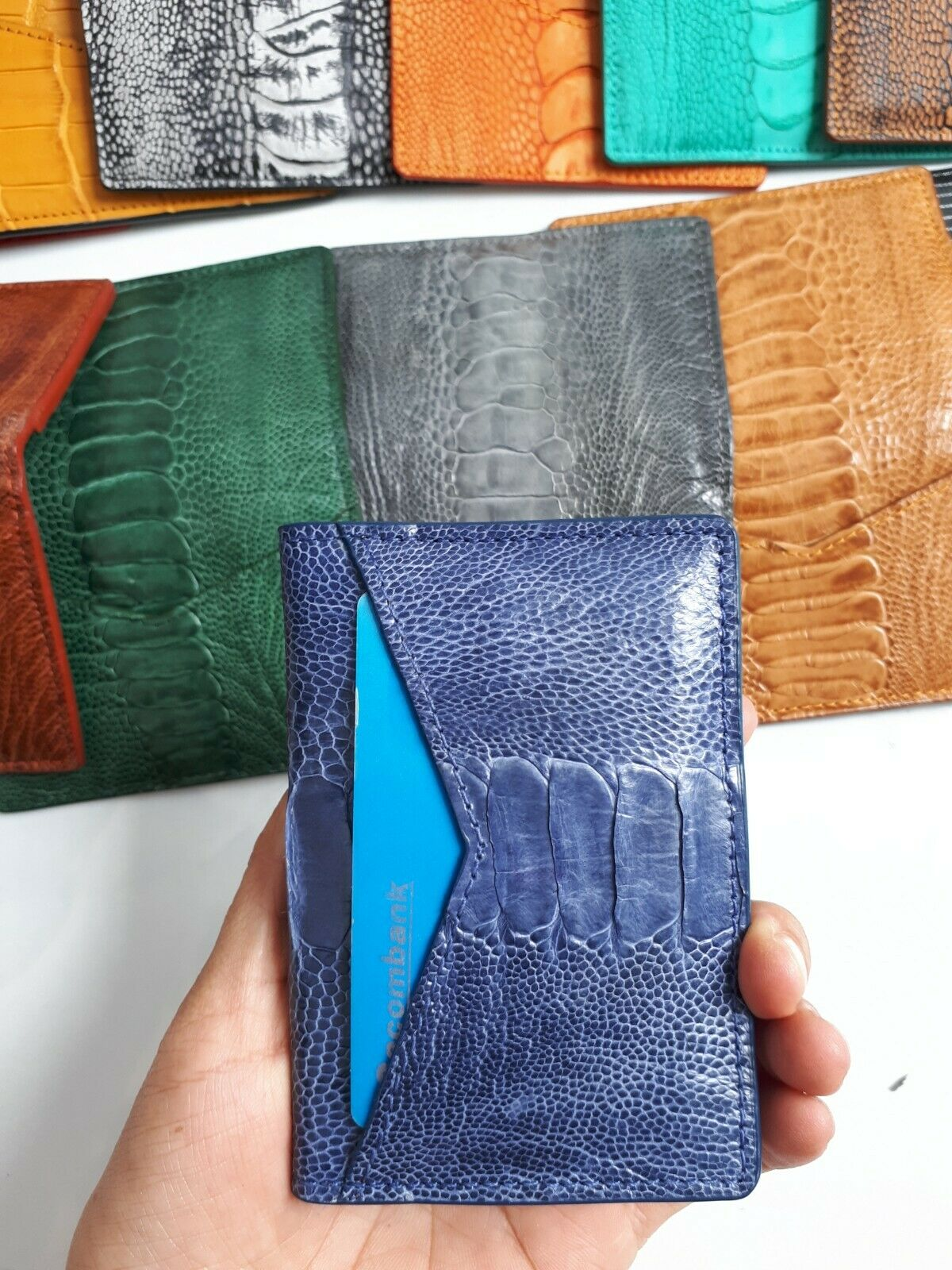 Navy BLUE BLACK OSRICH SKIN CREDIT CARD HOLDER DOUBLE SIDE Tan Green Gray Brown