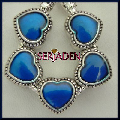 5 Blue Lover Heart Charms Fits European Jewelry 11 x 11 mm & 5 mm hole S189