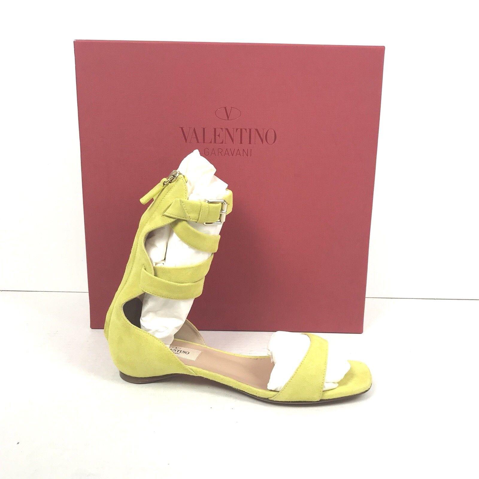 Auth Valentino Garavani Plum Ankle Wrap Flat Sandal SZ 36.5 36.5 36.5 Green Suede  795 64bda4