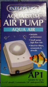 Interpet-Aqua-Air-Aquarium-air-Pump-AP-1-with-line-and-stone