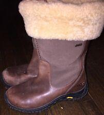 Uggs Australia Brown Leather Suede & Sheepskin Side Zip Boots Women's Sz 8 / 39