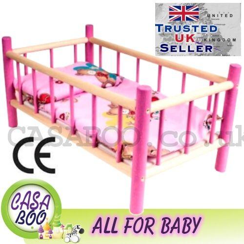 Grande in legno giocattolo culla letto per bambole con biancheria da letto prescolastica bimba giocattolo nuovo