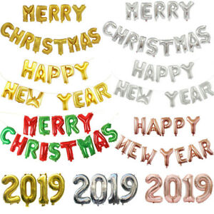 Christmas Party 2019 Clipart.Details About 2019 Merry Christmas Happy New Year Foil Balloon Banner Bunting Party Decoration