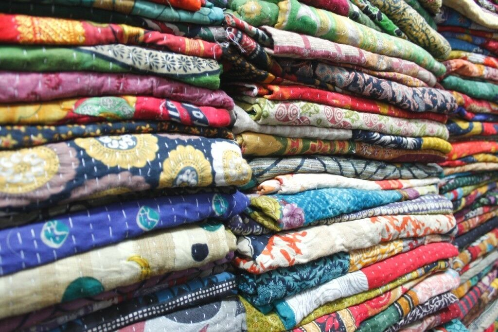 40 PCs Vintage Kantha Quilt Reversible Throw Handmade Indian Wholesale Lot