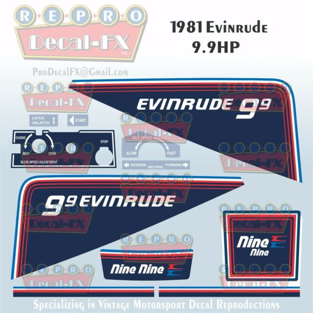 1981 Evinrude 99 HP Outboard Reproduction 9 Pc Marine Vinyl Decals Nine
