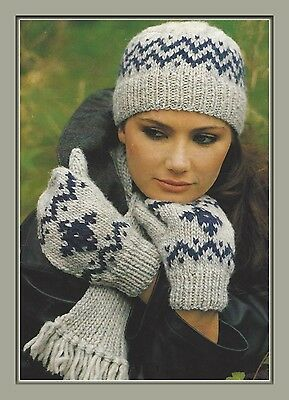 157f9ead9 Ladies Hat, Mitts and Scarf in Fairisle Knitting Pattern Chunky 977 | eBay