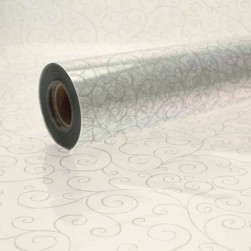 Silver Scroll Cellophane Swirl Roll Gift Hamper Clear Film Florist Wrap 1m-100m