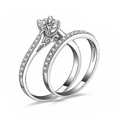 2Pcs Women Gemstone White Gold Plated Engagement Ring Set Size 6-9 Rings Jewelry