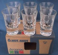 SET OF SIX VINTAGE ARCOROC FRANCE BLACK BUSH HOT SHOT GLASSES ORIGINAL BOX MINT