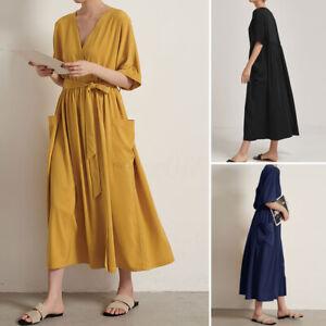ZANZEA-Femme-Robe-Manche-Courte-Col-V-Casual-lache-Loisir-Maxi-Dresse-Oversize