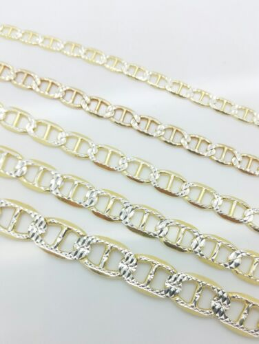 925 Solid Sterling Silver 14k Gold Pave Mariner Anchor Link Chain 3-8mm Italy