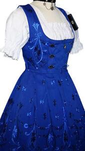 Dirndl Blue German Dress Oktoberfest Short Waitress Party Embroidery ALL SIZES