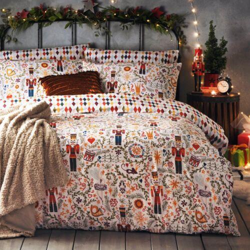 Childrens Multi Casse-noisette Harlequin réversible Noël Parure de lit