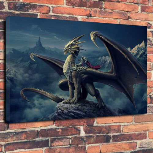 "Dragon Rider Fantasy Art Boîte Imprimée Toile Photo A1.30/""x20/"" 30 mm Profond Cadre"
