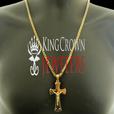 """Stainless Steel Mens 28"""" Gold Franco Chain Necklace Jesus Crucifix Cross Pendant"""
