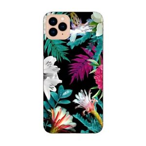 Coque Iphone 12 PRO MAX tropical Noir Fleur violet rose