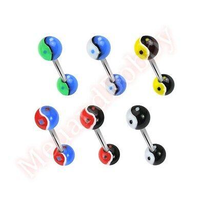 14G 16mm 6mm UV Ying Yang Ball Tongue Bar Ring CHOOSE SINGLE OR BULK PACK
