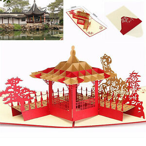 3D-Up-Greeting-Card-Pavilion-Happy-Birthday-Annniversary-Valentine-039-s-Day