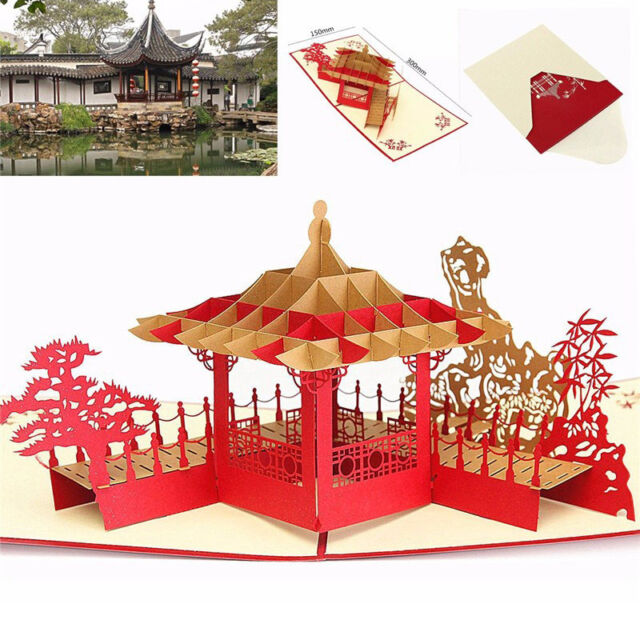 3D Pop Up Greeting Card Pavilion Happy Birthday Annniversary Valentine's Day pre