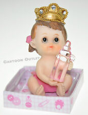 12 X RECUERDOS DE BAUTIZO BABY SHOWER FIGURINES PINK GIRL WITH CROWN CAKE TOPPER