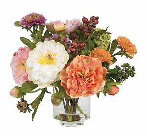 Nearly Natural 4689 Peony Silk Arrangement Assorted New