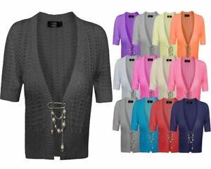 Mesdames-crochet-tricote-pour-femme-manches-courtes-hausser-brooched-cardigan-crop-top-8-14