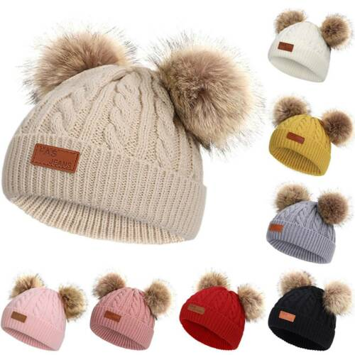 Newborn Kids Baby Boys Girls Pom Hat Winter Warm Crochet Knit Bobble Beanie Caps