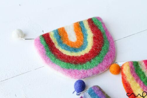 NEW Handmade Rainbow Felt Purse Zip Fastening Gift 100/% Wool White Blue Orange