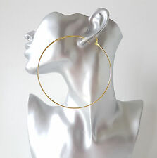 "HUGE 10cm / 4"" plain GOLD tone BIG hoop earrings LARGE - MASSIVE HOOPS!!"