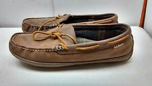 ll bean men's brown suede indoor out moccasin slippers