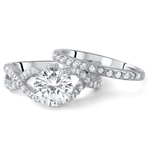 2.75 CTW Silver CZ Fancy Weave Engagement Ring Wedding Band Set