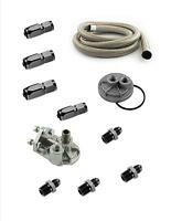 Oil Filter Relocation Kit Gm 13/16-16 Single Filter Steel Braided -8 Hose