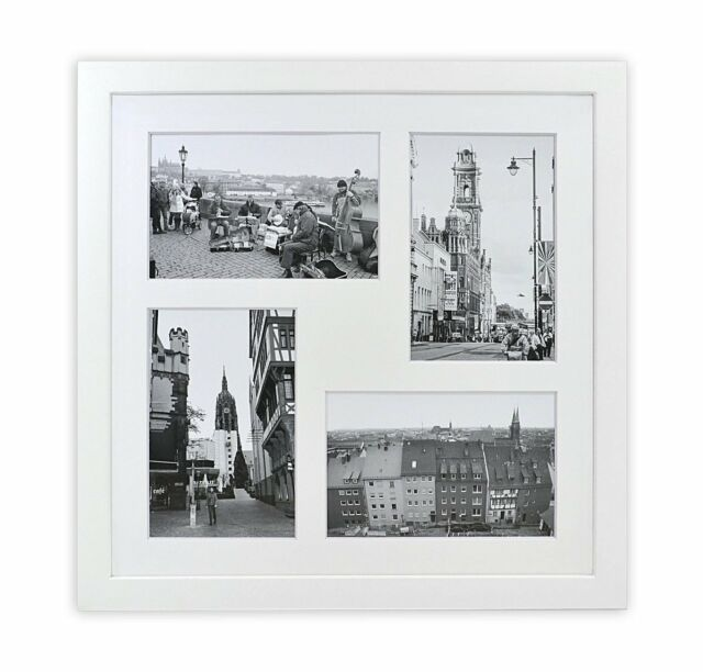 12x12 Inch Square Wood Collage Frames With Photo Mat Real Glass For