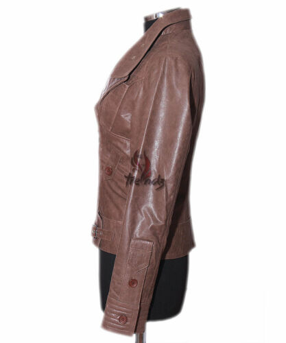 Short Tara Leather Vintage Real Style Cowhide sr4110 Jacket Brown Biker Ladies RYqdpYw
