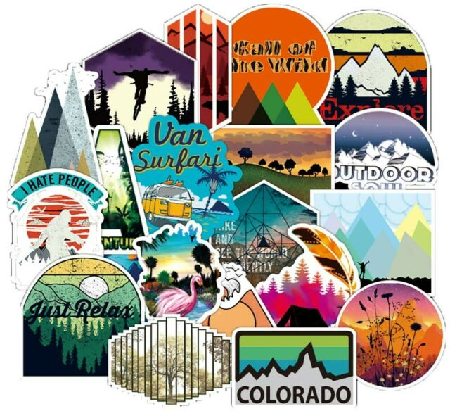 50 Hiking Adventure Outdoors Stickers Vinyl Laptop Luggage Skateboard Decals US
