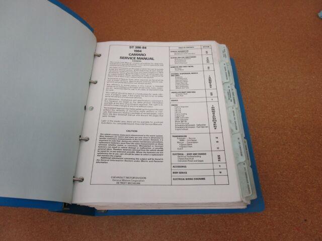Original 1984 Chevrolet Camaro Service Shop Dealer Manual