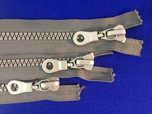 Zip étroite terminé métal gris argent no; 10 dents plastique curseur chunky heavy duty  </span>