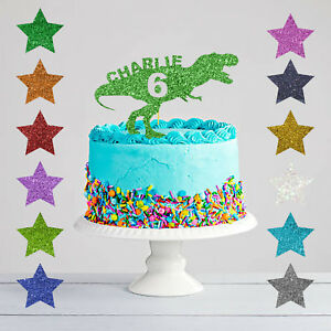 Outstanding Personalised Birthday T Rex Dinosaur Glitter Cake Topper Any Name Personalised Birthday Cards Paralily Jamesorg