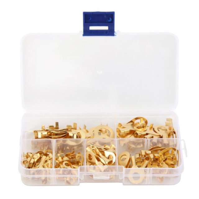 1X(150Pcs Insulated Brass Ring Crimp Terminals Wire Connectors Spade Electr C5R5