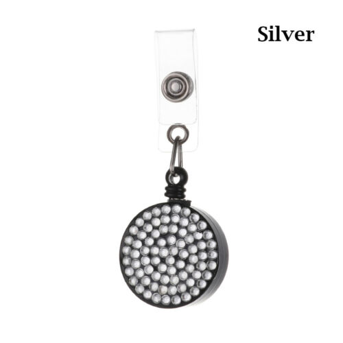 Bling ID Name Card Retractable Anti-Lost Clip Lanyards Badge Holder Key Ring